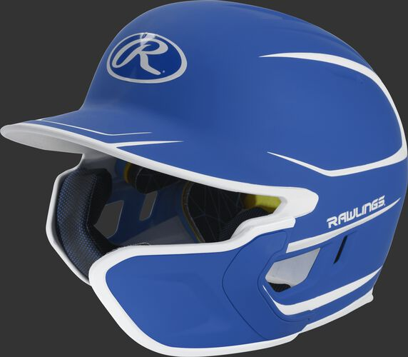 Left angle view of a matte royal/white MACHEXTR Mach Senior helmet with Mach EXT right hand batter face guard extension