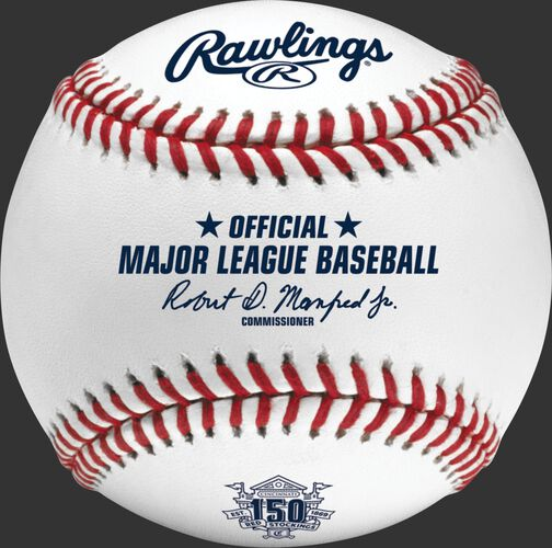 A ROMLBCIN150 MLB Cincinnati Reds 150 year anniversary ball with the Official Ball stamp and league commissioner's signature