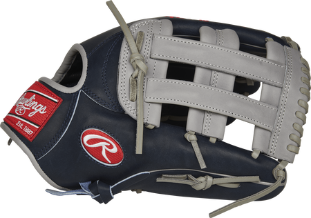 Thumb view of a navy PROSAJ99 Aaron Judge Pro Preferred 13-inch outfield glove with a grey H web