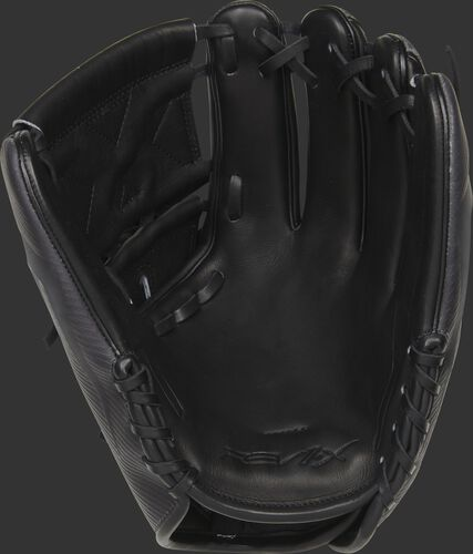 Black leather palm of a Rawlings REV1X infield/pitcher's glove with black laces - SKU: REV205-9X