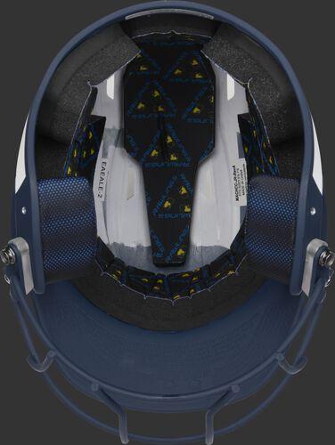 Black foam padding on the inside of a Rawlings Mach fastpitch helmet - SKU: MSB13S-W/N