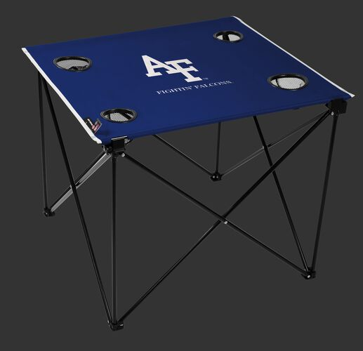 A blue NCAA Air Force Falcons deluxe tailgate table with four cup holders and team logo printed in the middle SKU #00713000111