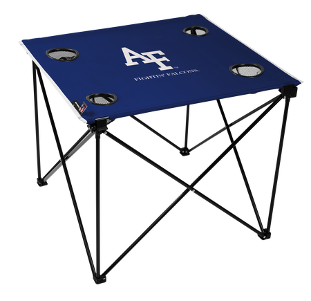 A blue NCAA Air Force Falcons deluxe tailgate table with four cup holders and team logo printed in the middle