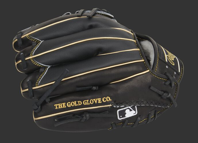Black Speed Shell back of a Pro Preferred infield/pitcher's glove with the MLB logo on the pinkie - SKU: PROS205-30BG