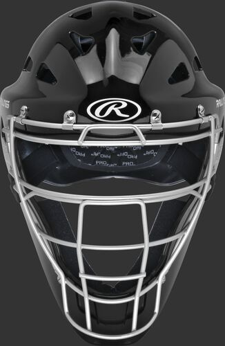 Front of a black CHRNGD Renegade adult hockey-style catcher's helmet