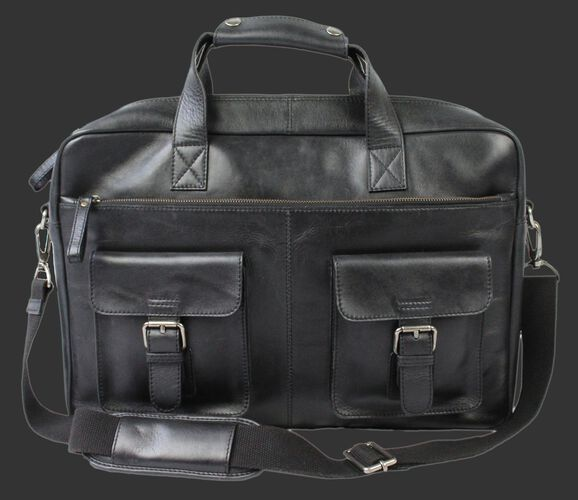 A black Rawlings rugged briefcase with 2 side compartments and a black shoulder strap - SKU: RS10024-001
