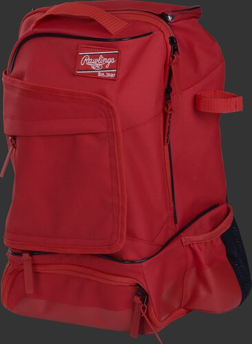 Left angle of a scarlet R701 universal training backpack