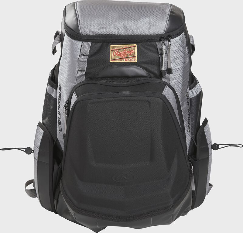 Front of a black/gray R1000 Rawlings Gold Glove backpack with a gold patch