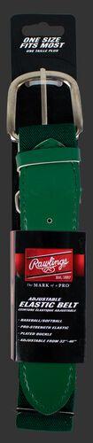 Front of Rawlings dark green Adult Adjustable Elastic Baseball Belt - SKU #BLT-DRKGRN