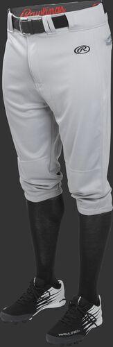 Front of Rawlings Blue Gray Youth Launch Knicker Baseball Pant - SKU #YLNCHKP
