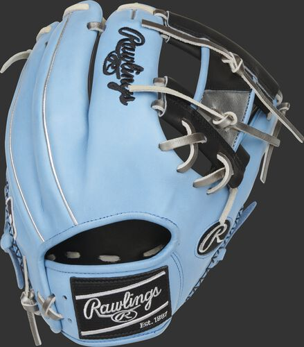 Back of a Columbia blue/black Heart of the Hide ColorSync 5.0 I-web glove with a black Rawlings patch - SKU: PRO204-2BCB