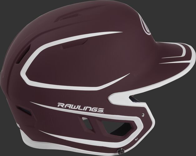 Right side of a two-tone matte maroon/white MACH helmet