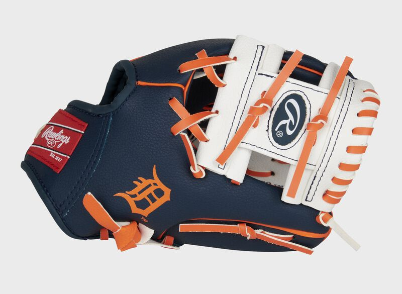 A navy/white Detroit Tigers 10-Inch team logo glove with a white I-web and Detroit logo on the thumb - SKU: 22000027111