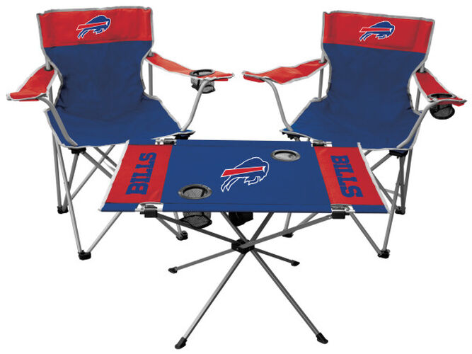 Front of Rawlings Blue and Red NFL Buffalo Bills 3-Piece Tailgate Kit With Two Kickoff Chairs, An Endzone Table, And A Transport Bag With Team Logo SKU #01041061511