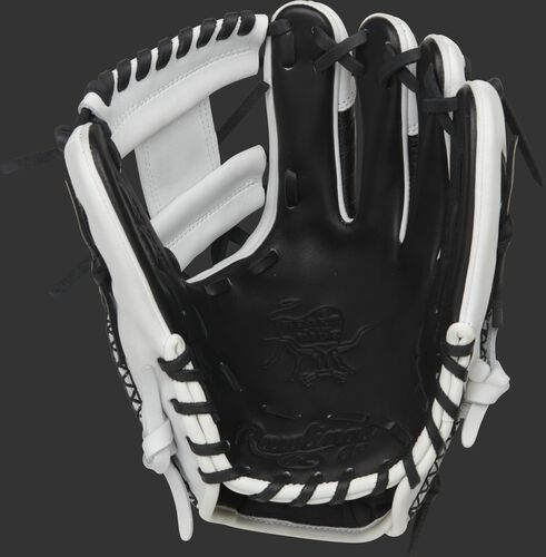 Black palm of a Rawlings Heart of the Hide R2G infield glove with black laces - SKU: PROR204-2BCW