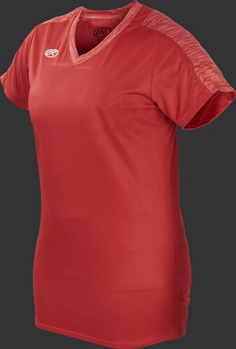 Front of Rawlings Scarlet Girl's Short Sleeve Launch Jersey - SKU #WLNCHJG-B-88