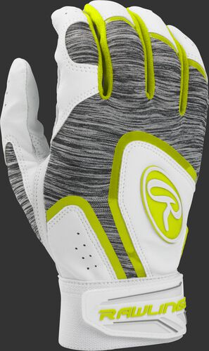A white 5150WBG-OY youth 5150 batting glove with a heather grey back and optic yellow trim