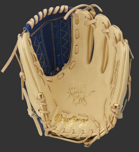 Camel palm of a Heart of the Hide infield/pitcher's glove with a royal web and camel laces - SKU: PRO205W-12CR
