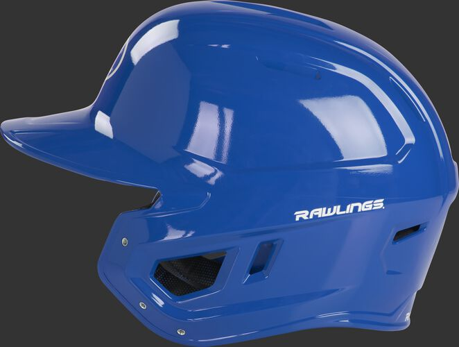 Left side of a royal MCH01A Mach baseball helmet compatible with MEXT face guard extension