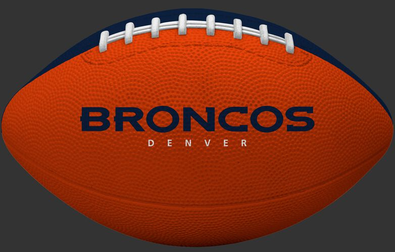 Orange side of a Denver Broncos rubber Gridiron football