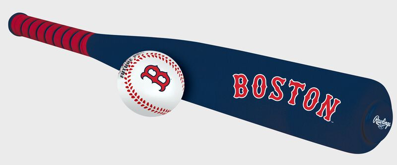 Side of Rawlings Boston Red Sox Foam Bat and Ball Set in Team Colors With Team Name On Front SKU #01860024111