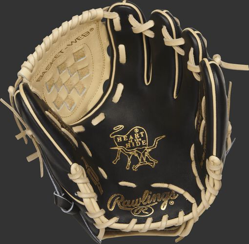 PROR210-3BC Heart of the Hide R2G infield/pitcher's glove with a black palm and camel laces