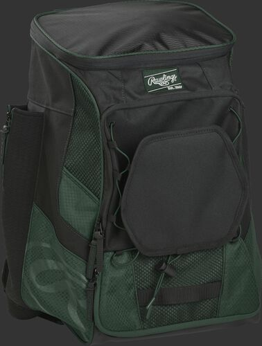 Front right of a dark green/black R600 Rawlings backpack without bats
