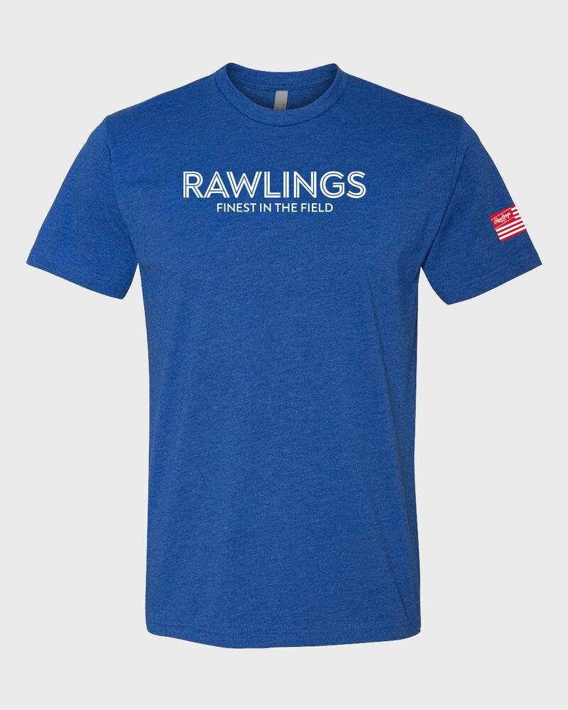 A royal Rawlings Finest in the Field short sleeve shirt with a white logo and lettering on the chest - SKU: RSGTT-R