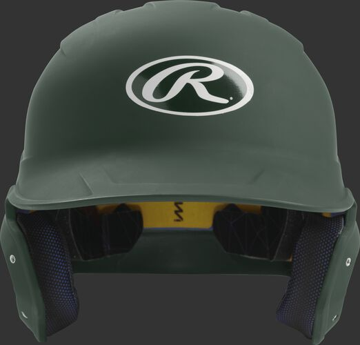 Front of a matte dark green MACH junior size batting helmet