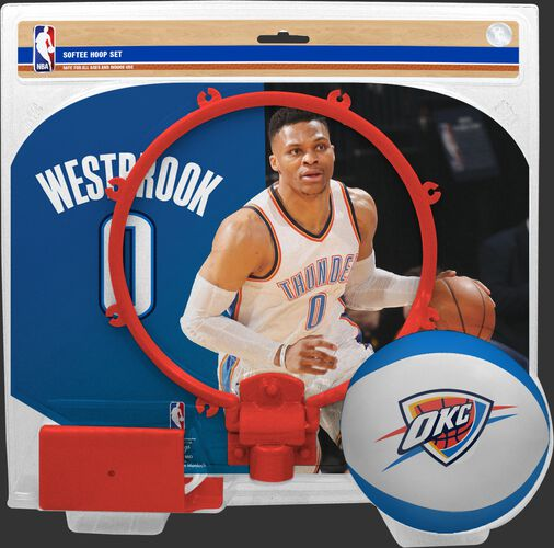 A NBA Oklahoma City Thunder Russell Westbrook softee hoop set with a picture of Westbrook on the backboard - SKU: 03545057511