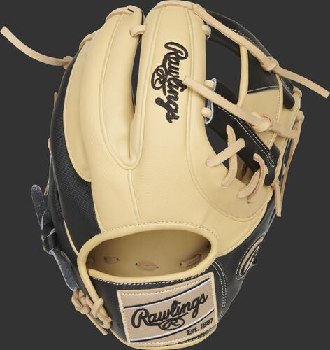 Back of a black/camel Heart of the Hide ColorSync 5.0 Speed Shell I-web glove with a camel Rawlings patch - SKU: PRO234-2CB