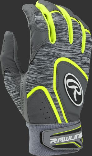 Heather grey 5150GBGY youth 5150 batting gloves with optic yellow trim and wrist strap
