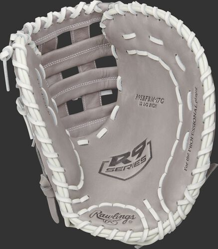 Gray palm of a Rawlings R9 Series 1st base mitt with a gray web and white laces - SKU: R9SBFBM-17G