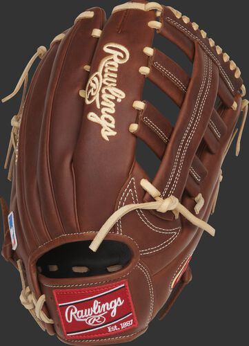 Back of a Nick Markakis Heart of the Hide 12.75-Inch outfield glove with a red Rawlings patch - SKU: PRO435-NM22