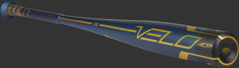 Angled view of a navy Rawlings Velo ACP BBCOR bat with a black end cap - SKU: BB1V3