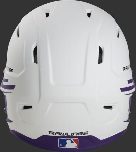 Back of a white/purple Rawlings Mach fastpitch helmet with the MLB logo on the bottom - SKU: MSB13S-W/PU