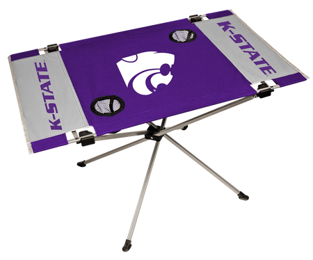 NCAA Kansas State Wildcats Endzone table in team colors with a team logo in the middle and two cup holders