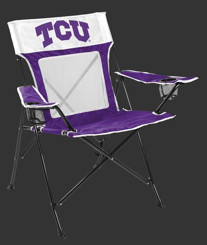 Front of Rawlings Purple and White NCAA TCU Horned Frogs Game Changer Chair With Team Logo SKU #00643177111