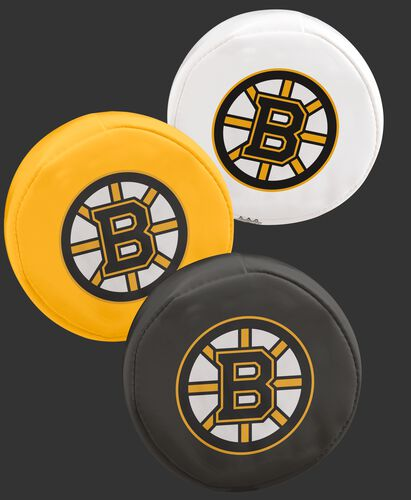NHL Boston Bruins 3 puck softee set with black, yellow and white pucks with the Bruins logo SKU #00614104111