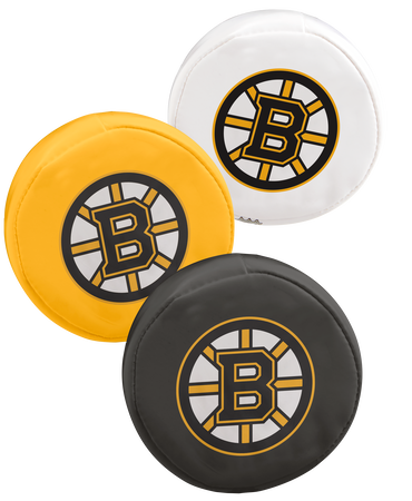 NHL Boston Bruins 3 puck softee set with black, yellow and white pucks with the Bruins logo