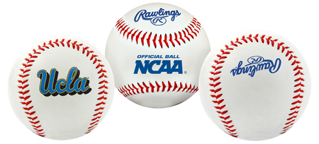 3 views of a NCAA UCLA Bruins baseball with a team logo, NCAA logo and Rawlings logo