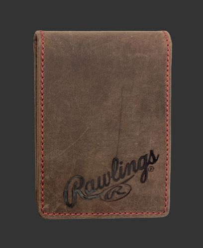 A brown high grade debossed front pocket wallet with the Rawlings logo debossed in the bottom right - SKU: RPW006-200