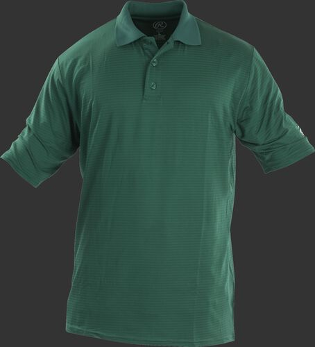 Front of Rawlings Adult Dark Green Short Sleeve Polo Shirt - SKU #GGPOLO