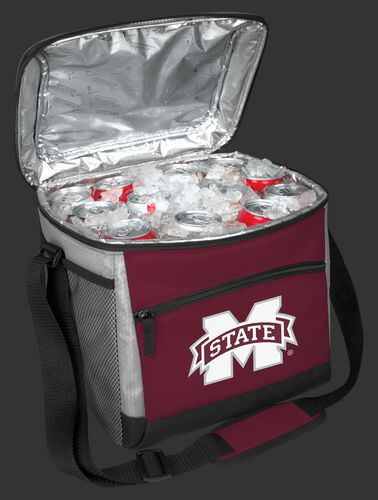 An open Mississippi State Bulldogs 24 can cooler filled with ice and drinks - SKU: 10223039111