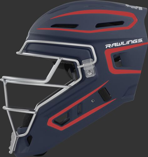 Left side of a navy/scarlet CHV27J Rawlings hockey style Velo 2.0 catcher's helmet