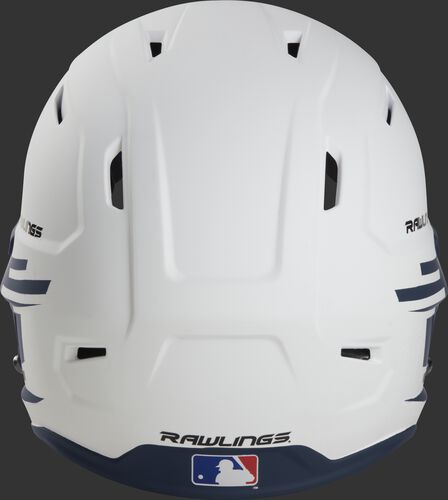 Back of a white/navy Rawlings Mach fastpitch helmet with the MLB logo on the bottom - SKU: MSB13S-W/N