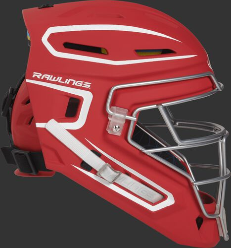 Right side of a scarlet CHMCHS Mach senior size catcher's helmet