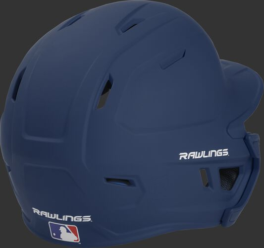 Back right of a matte navy MACHEXTL Rawlings senior size batting helmet