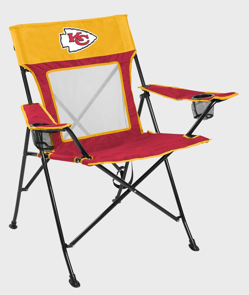 Front of Rawlings Red and Yellow NFL Kansas City Chiefs Game Changer Chair With Team Logo SKU #00651071111