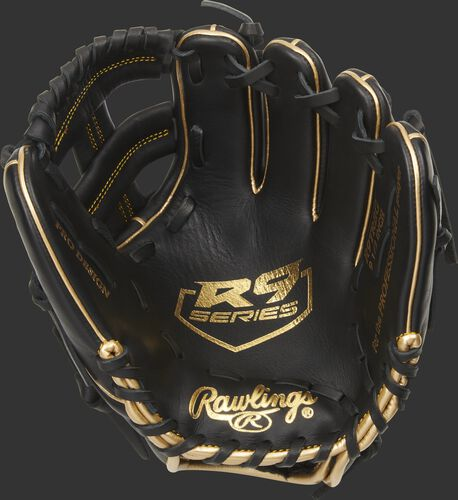 Palm of a black Rawlings R9 training glove with a gold palm stamp and black laces - SKU: R9TRBG